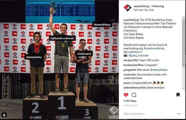2018 US Mens Bouldering Open Nationals Podium