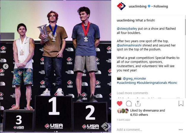 2019 US Mens Bouldering Podium